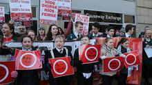 Protest at the Department of Communities in Belfast this lunchtime. An Dream Dearg, an open network of Irish language activists from all corners and backgrounds, is held a public protest at the Department of Communities, Belfast. Image: Pacemaker