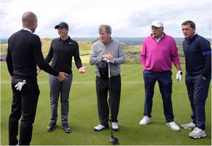 PACEMAKER BELFAST  05/07/2017 Wednesday is the PRO AM at the Dubai Duty Free Irish Open at Portstewart Golf Club. Rory McIlroy on the first tee with Pep Guardiola, JP McManus, Dermot Desmond and Tony McCoy