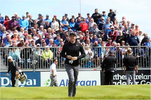 PACEMAKER BELFAST  05/07/2017 Wednesday is the PRO AM at the Dubai Duty Free Irish Open at Portstewart Golf Club. Rory McIlroy on the first tee