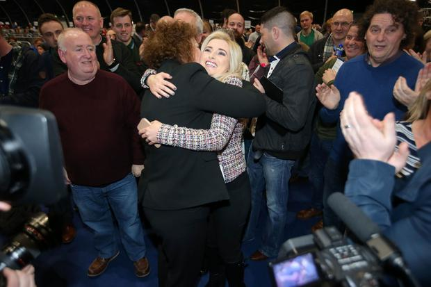 NI Assembly Election 2017 Count at Titanic Exhibition Centre in Belfast for Belfast East,  Belfast North, Belfast South and Belfast West constituencies. Sinn Féin candidate for west Belfast Órlaithí Flynn(centre) celebrates with party colleagues after she is elected. Photo by Jonathan Porter / Press Eye.