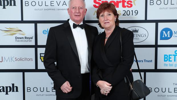 Press Eye - Belfast - Northern Ireland - 20th January  2020   Ross Hegarty and Wilma Erskine pictured at the 2019 Belfast Telegraph Sport Awards at the Crowne Plaza Hotel in Belfast.  Photo by Kelvin Boyes / Press Eye.