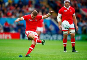 LEICESTER, ENGLAND - OCTOBER 06:  Gordon McRorie of Canada kicks a penalty during the 2015 Rugby World Cup Pool D match between Canada and Romania at Leicester City Stadium on October 6, 2015 in Leicester, United Kingdom.  (Photo by Laurence Griffiths/Getty Images)