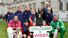 Big match countdown: The NCU U-11 Inter-pro winning team at City Hall yesterday with  Belfast Lord Mayor Nuala McAllister, Cricket Ireland President Brian Walsh, West Indian fan Adonis Browne of Holywood CC and Ireland player Stuart Thompson launch next month's Stormont ODI