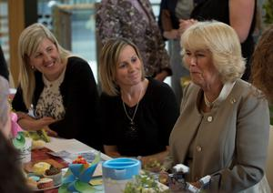 BELFAST, NORTHERN IRELAND - MAY 21:  Patron of The Big Lunch Camilla, Duchess of Cornwall reacts as she attends a reception for supporters of the community initiative on May 21, 2015 in Belfast, Northern Ireland. Prince Charles, Prince of Wales and Camilla, Duchess of Cornwall will attend a series of engagements in Northern Ireland following their two day visit in the Republic of Ireland.  (Photo by Arthur Edwards  - WPA Pool/Getty Images)