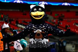 LONDON, ENGLAND - DECEMBER 07: The Tottenham Hotspur mascot shows off their festive jumper during the UEFA Champions League Group E match between Tottenham Hotspur FC and PFC CSKA Moskva at Wembley Stadium on December 7, 2016 in London, England.  (Photo by Bryn Lennon/Getty Images)