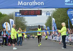 Eric Koech wins  the 37th annual Belfast City Marathon on May Bank holiday Monday, with thousands of participants taking part in the Marathon , relay and fun runners. Pic Colm Lenaghan/Pacemaker