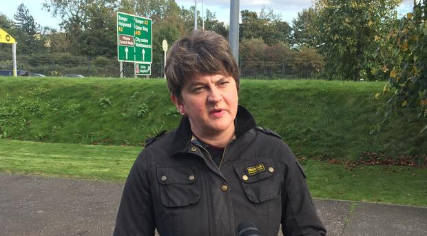 Arlene Foster speaking to media outside Belfast City airport (David Young/PA)
