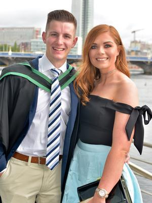 Pictured at Ulster University Summer Graduation 2017 at the Waterfront Hall are Stefan Masson who Graduated in Finance and Investment Analysis and Ellie McConville. Photo by simongraham.photography