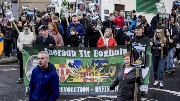 Saoradh as a remembrance march for the 48th anniversary of Bloody Sunday takes place in the Creggan area Derry on February 2nd 2020 (Photo by Kevin Scott for Belfast Telegraph)