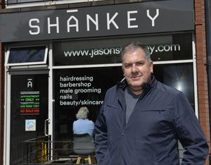 Colin Cobb pictured at Shankeys on the Lisburn Road after his first haircut. Photo by Stephen Hamilton