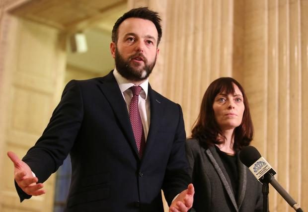 SDLP leader Colum Eastwood and party colleague Nichola Mallon talks to the press in the Great Hall at Parliament Buildings, Stormont, as all party talks continue to try and get the Northern Ireland Assembly up-and-running again. Photo by Jonathan Porter / Press Eye