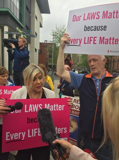Anti abortion campaign Bernie Smyth holds a counter protest (David Young/PA)
