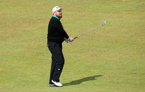 NEWCASTLE, NORTHERN IRELAND - MAY 29:  Shane Lowry of Ireland hits his 2nd shot on the 1st hole during the Second Round of the Dubai Duty Free Irish Open Hosted by the Rory Foundation at Royal County Down Golf Club on May 29, 2015 in Newcastle, Northern Ireland.  (Photo by Andrew Redington/Getty Images)