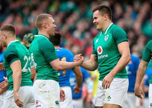 Ireland's Jacob Stockdale (right) celebrates with team-mate Keith Earls after scoring his sides seventh try during the NatWest 6 Nations match at the Aviva Stadium, Dublin. PRESS ASSOCIATION Photo. Picture date: Saturday February 10, 2018. See PA story RUGBYU Ireland. Photo credit should read: Brian Lawless/PA Wire. RESTRICTIONS APPLY: Editorial use only. No commercial or promotional use without prior consent from IRFU. No alterations or doctoring.