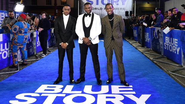 Stephen Odubola, Andrew Onwubolu and Michael Ward at the premiere of Blue Story (Ian West/PA)