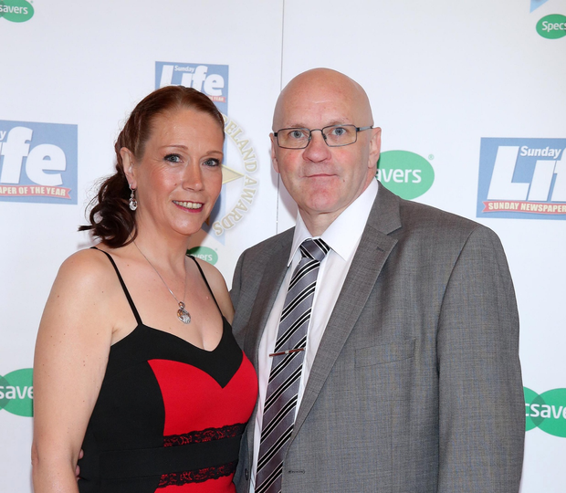 Terry McCorran with his wife Julie at last year's awards at the Culloden Hotel.