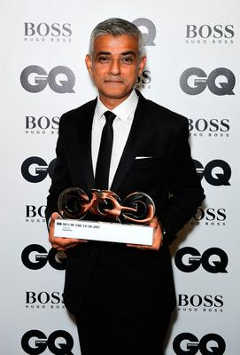 Sadiq Khan with his Best Politician award during the GQ Men of the Year Awards 2017 held at the Tate Modern, London. PRESS ASSOCIATION Photo. Picture date: Tueday September 5th, 2017. Photo credit should read: Ian West/PA Wire
