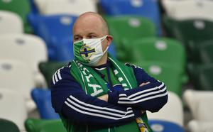 PACEMAKER PRESS  BELFAST 12/11/2020 Northern Ireland v Slovakia UEFA Euro 2020 Play Off Final Northern Ireland fans  during this evenings game  at  the National Football Stadium at Windsor Park in Belfast. Pic Colm Lenaghan/Pacemaker