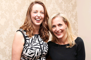 Former X Files star, Gillian Anderson pictured with Deborah McCarthy at the official launch last night in the hairdressers on Station Road in Lisburn.