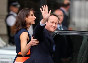 LONDON, ENGLAND - JULY 13:  Prime Minister David Cameron with his wife Samantha leave 10 Downing Street for the last time after speaking to the press to visit Buckingham Palace to formally tender his resignation to the Queen on July 13, 2016 in London, England. David Cameron leaves Downing Street today having been Prime Minister of the United Kingdom since May 2010 and Leader of the Conservative Party since December 2005. He is succeeded by former Home Secretary Theresa May and will remain as Member of Parliament for Witney in Oxfordshire.  (Photo by Christopher Furlong/Getty Images) *** BESTPIX ***