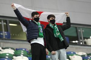 PACEMAKER, BELFAST, 8/10/2020: Northern Ireland fans  during the European Championship qualifying play-off against Slovakia at the National stadium in Belfast.  PICTURE BY STEPHEN DAVISON