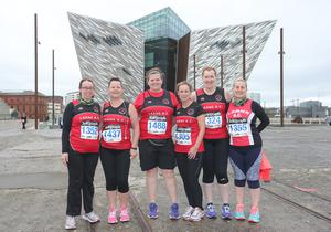 Press Eye Belfast - Northern Ireland 10th September 2017  Pure Running's and The Belfast Telegraph's RunHer Titanic 5k and 10k race in the Titanic Quarter of Belfast.   Left to right.  Gillan Craig, Rosie Humphrys, Helen McCluggage, Julie Apsley, Norma Brennan and Senga Craig from Larne.   Picture by Jonathan Porter/PressEye.com