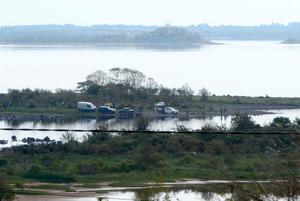 Garda and local volunteers on the shore of Lough Mask near Tourmakeady in Co Mayo