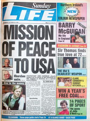Mission of Peace 23rd October 1988 - Sunday Life front page