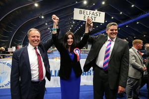 Nigel Dodds, Emma Little-Pengelly and Gavin Robinson pictured at the election count at Titanic Exhibition Centre Belfast for Belfast South, Belfast West, Belfast East and Belfast North.Photo by Kelvin Boyes / Press Eye.