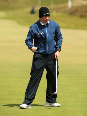 NEWCASTLE, NORTHERN IRELAND - MAY 29:  Richie Ramsay of Scotland celebrates on the 8th green during the Second Round of the Dubai Duty Free Irish Open Hosted by the Rory Foundation at Royal County Down Golf Club on May 29, 2015 in Newcastle, Northern Ireland.  (Photo by Andrew Redington/Getty Images)