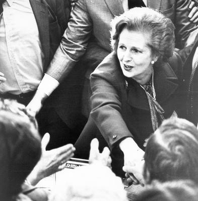 Former Prime Minister Margaret Thatcher. Visit to Northern Ireland.  Hands across the counter as the Prime Minister margaret Thatcher shakes habds with shoppers during a tour of Belfast City centre.   28/5/1981 BELFAST TELEGRAPH ARCHIVE