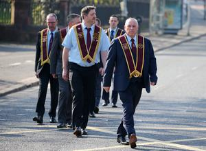 Press Eye - Belfast - Northern Ireland - 22nd April 2019  Apprentice Boys of Derry Easter Monday parade in Belfast.  A feeder parade makes its way to the main parade in east Belfast dow the Ormeau Road in south Belfast.      Picture by Jonathan Porter/PressEye