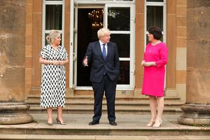 First Minister Arlene Foster and deputy First Minister Michelle O'Neill meet with UK Prime Minister Boris Johnson at Hillsborough Castle. Photo by Kelvin Boyes / Press Eye.