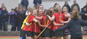 Mandatory Credit: Rowland White / PressEye Belfast Telegraph Schools' Cup Semi-Final Teams: Banbridge Academy (red) v Ballyclare High School (blue) Venue: Lisnagarvey Date: 11th February 2015 Caption: Banbridge celebrate