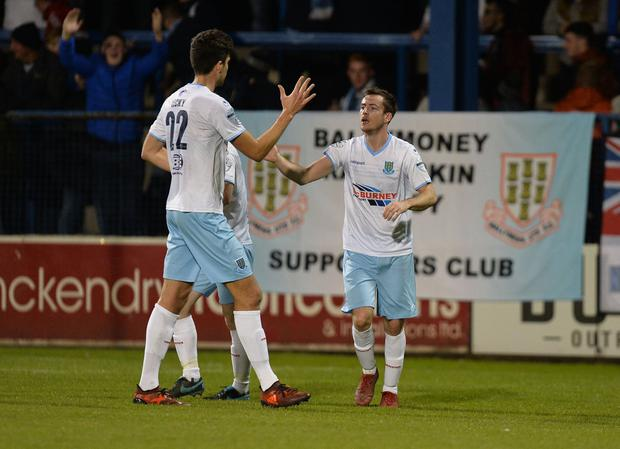 Andy McGrory (right) celebrates restoring Ballymena United's lead with Adam Lecky. Photo Colm Lenaghan/Pacemaker Press