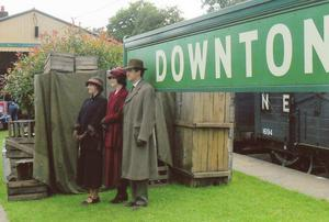 Downton Abbey cast members during filming (Bluebell Railway Museum Archive/PA)