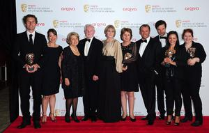 Cast members from Last Tango In Halifax with the Drama Series Award at the 2013 Arqiva British Academy Television Awards at the Royal Festival Hall, London. PRESS ASSOCIATION Photo. Picture date: Sunday May 12, 2013. See PA story SHOWBIZ Bafta. Photo credit should read: Ian West/PA Wire
