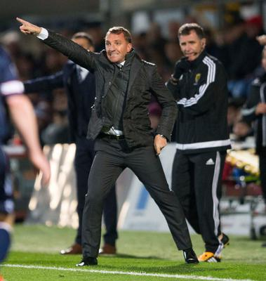 Celtic manager Brendan Rodgers gestures on the touchline during the Ladbrokes Scottish Premiership match at the Global Energy Stadium, Dingwall. PA