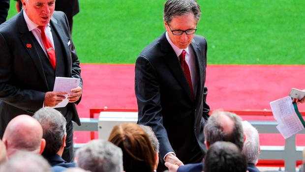 LIVERPOOL, ENGLAND - SEPTEMBER 09: Liverpool club owner John W Henry during the opening of  the new stand and facilities  at Anfield on September 9, 2016 in Liverpool, England. (Photo by Barrington Coombs/Getty Images)