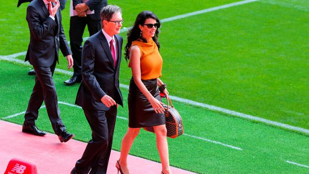 LIVERPOOL, ENGLAND - SEPTEMBER 09: Liverpool club owner John W Henry and his wife Linda Pizzuti during the opening of  the new stand and facilities  at Anfield on September 9, 2016 in Liverpool, England. (Photo by Barrington Coombs/Getty Images)