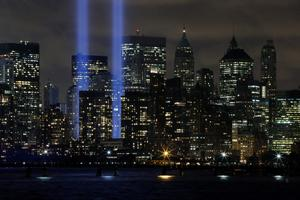 JERSEY CITY, NJ - SEPTEMBER 10:  The World Trade Center Tribute in Lights  is seen from Liberty State Park on September 10, 2014 in Jersey City New Jersey. Tomorrow marks the 13th anniversary of the 9/11 terrorist attacks that claimed the lives of 2,996 people in New York City, Washington, DC and a field in Shanksville, Pennsylvania.  (Photo by Kena Betancur/Getty Images)