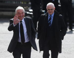 Broadcasters Paul Clarke (left) and Frank Mitchell arrive for the funeral of BBC broadcaster Gerry Anderson at St Eugene's Cathedral in Londonderry. PRESS ASSOCIATION Photo. Picture date: Sunday August 24, 2014. See PA story FUNERAL Anderson. Photo credit should read: Niall Carson/PA Wire