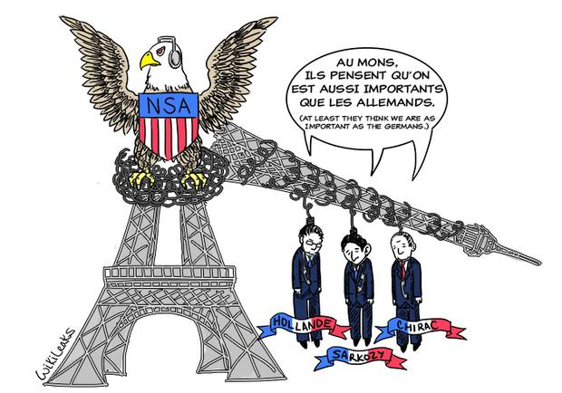 WikiLeaks: The NSA spied on French Presidents Jacques Chirac, Nicolas Sarkozy and Francois Hollande. The website published 'Espionnage Élysée' documents on Tuesday. Image via: Twitter @wikileaks