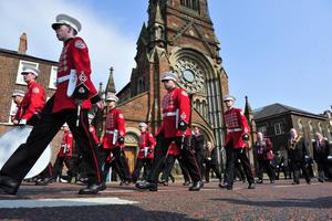 A small Apprentice Boys flute band of around 40-50 people makes its way up Donegal street in Belfast. Mark Marlow/Pacemaker