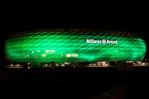The Allianz Arena, home to Bayern Munich, illuminated in green as part of Tourism Irelands Global Greening initiative, to celebrate the island of Ireland and St Patrick.