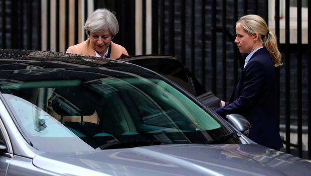 LONDON, ENGLAND - MARCH 29:  British Prime Minister Theresa May departs 10 Downing Street on March 29, 2017 in London, England. Later today British Prime Minister Theresa May will address the Houses of Parliament as Article 50 is triggered and the process that will take the United Kingdom out of the European Union will begin.  (Photo by Christopher Furlong/Getty Images)