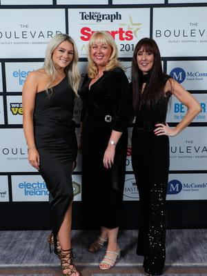 Press Eye - Belfast - Northern Ireland - 20th January  2020   Sarah Heath, Jackie Reid and Karen McGarvey  pictured at the 2019 Belfast Telegraph Sport Awards at the Crowne Plaza Hotel in Belfast.  Photo by Kelvin Boyes / Press Eye.