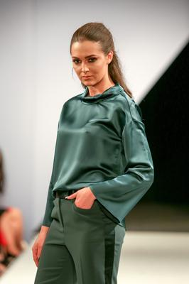 West Coast Cooler Fashion Week. Pictured: Rebecca with a Green Tux Trouser and Green Roll Neck Blouse from M&S. Picture: Philip Magowan / PressEye (21st October 2016)