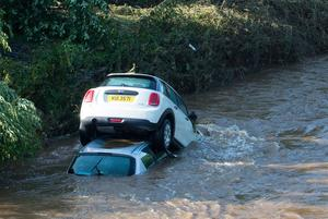 Cars swept into the River Faughan.