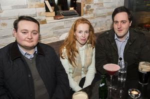 Johnny Lavery, Claudia Brooks and John Hussey at The Lonely Poet, Belfast.